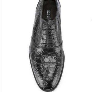 FRATELLI ROSSETTI Croco Embossed Leather Loafers